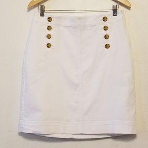 "Talbots white denim ""Sailor Style"" pencil skirt"